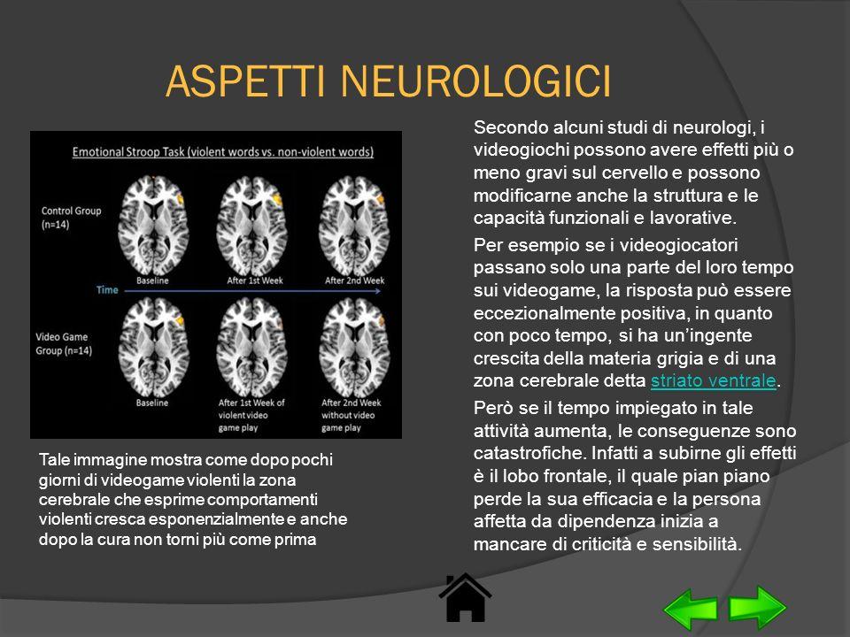 ASPETTI NEUROLOGICI Secondo alcuni studi di neurologi, i videogiochi possono avere effetti più o meno gravi sul cervello e possono modificarne anche l