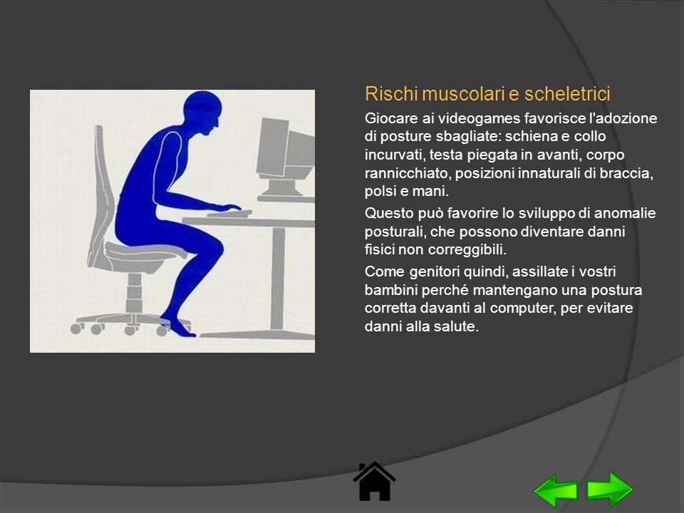 Rischi muscolari e scheletrici Giocare ai videogames favorisce l'adozione di posture sbagliate: schiena e collo incurvati, testa piegata in avanti, co