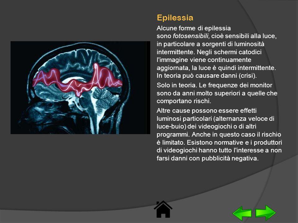 Epilessia Alcune forme di epilessia sono fotosensibili, cioè sensibili alla luce, in particolare a sorgenti di luminosità intermittente. Negli schermi