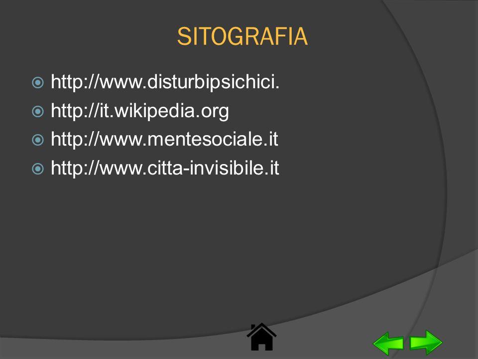 SITOGRAFIA http://www.disturbipsichici. http://it.wikipedia.org http://www.mentesociale.it http://www.citta-invisibile.it