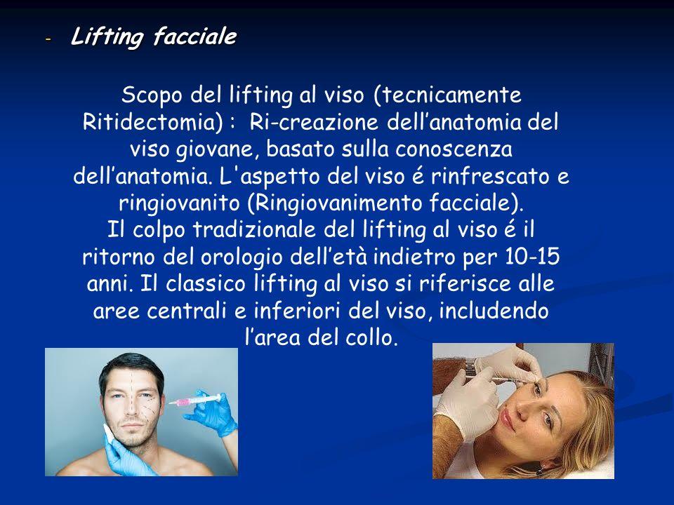 - Lifting facciale Scopo del lifting al viso (tecnicamente Ritidectomia) : Ri-creazione dellanatomia del viso giovane, basato sulla conoscenza dellana