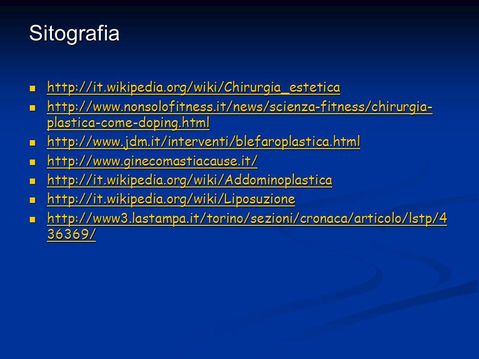 Sitografia http://it.wikipedia.org/wiki/Chirurgia_estetica http://it.wikipedia.org/wiki/Chirurgia_estetica http://it.wikipedia.org/wiki/Chirurgia_este