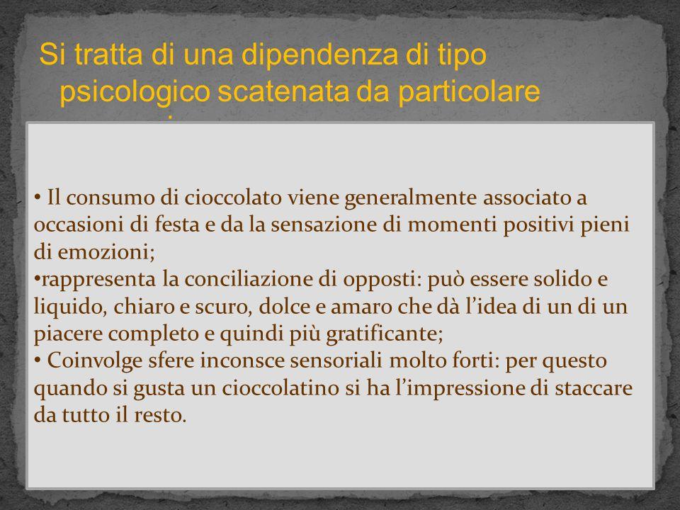 Si tratta di una dipendenza di tipo psicologico scatenata da particolare processi: Il consumo di cioccolato viene generalmente associato a occasioni d
