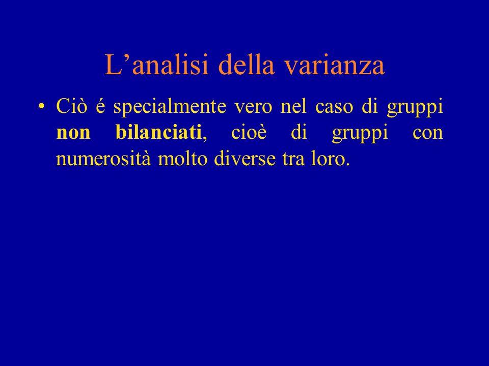 Lanalisi della varianza Ciò é specialmente vero nel caso di gruppi non bilanciati, cioè di gruppi con numerosità molto diverse tra loro.