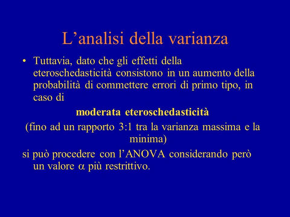 Lanalisi della varianza Tuttavia, dato che gli effetti della eteroschedasticità consistono in un aumento della probabilità di commettere errori di pri