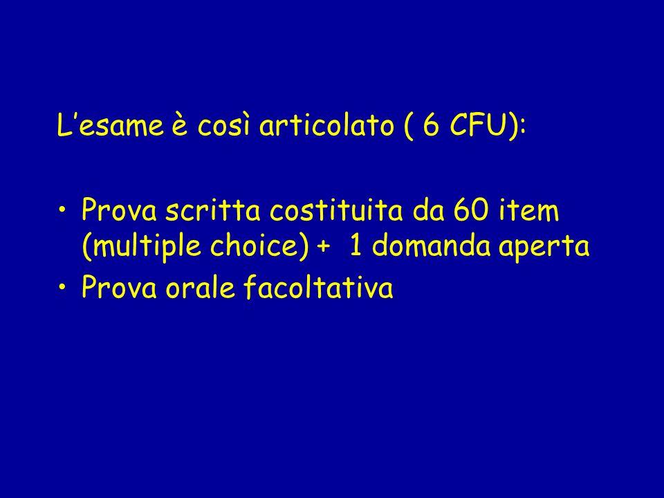 Lesame è così articolato ( 6 CFU): Prova scritta costituita da 60 item (multiple choice) + 1 domanda aperta Prova orale facoltativa