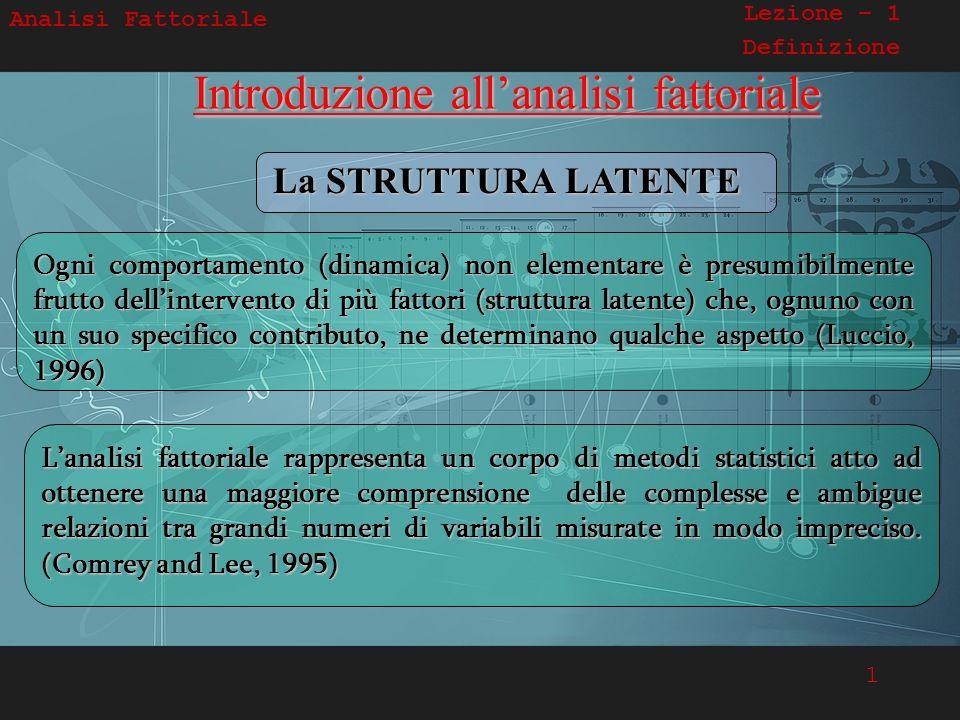 1 Analisi Fattoriale Lezione – 1 Definizione Introduzione allanalisi fattoriale Ogni comportamento (dinamica) non elementare è presumibilmente frutto