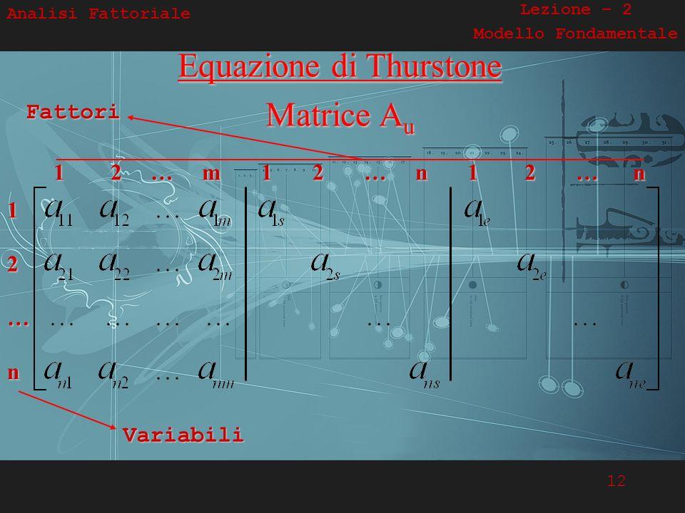 12 Analisi Fattoriale Lezione – 2 Modello FondamentaleEquazione di Thurstone Matrice Au 1 2 … m 1 2 … n 1 2 … n 1 2 … nFattoriVariabili