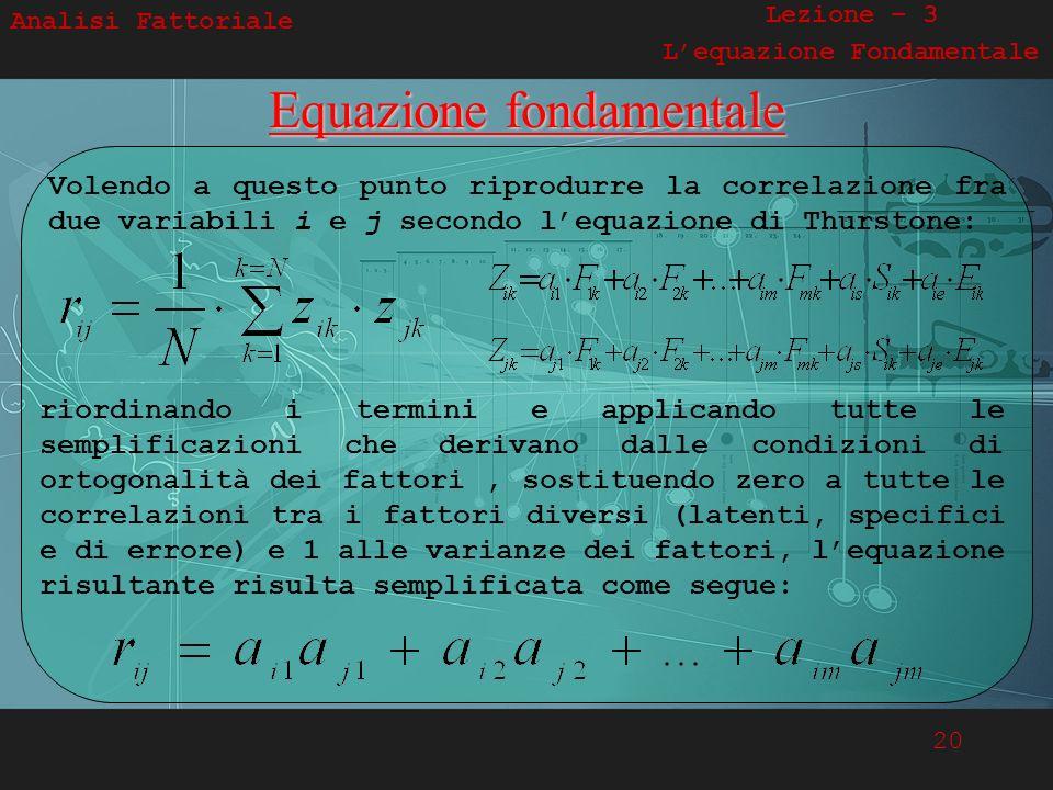 20 Analisi Fattoriale Lezione – 3 Lequazione FondamentaleEquazione fondamentale Volendo a questo punto riprodurre la correlazione fra due variabili i