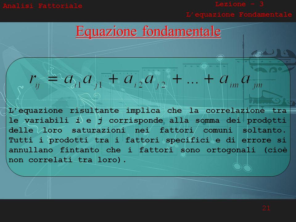 21 Analisi Fattoriale Lezione – 3 Lequazione FondamentaleEquazione fondamentale Lequazione risultante implica che la correlazione tra le variabili i e
