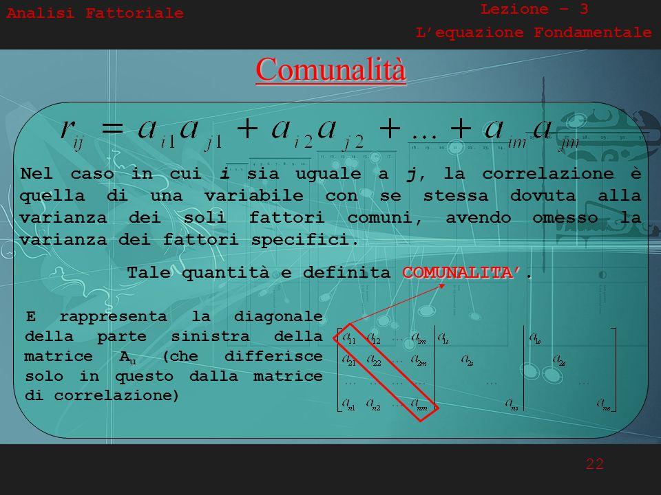 22 E rappresenta la diagonale della parte sinistra della matrice A u (che differisce solo in questo dalla matrice di correlazione) Analisi Fattoriale