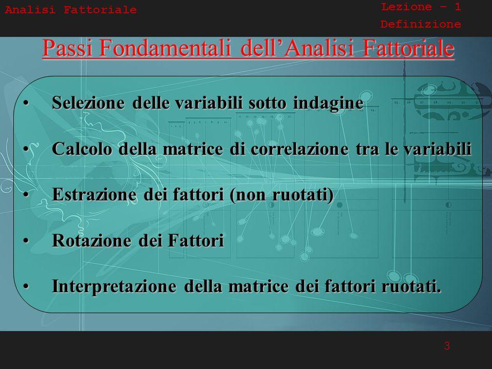 3 Analisi Fattoriale Lezione – 1 DefinizionePassi Fondamentali dellAnalisi Fattoriale Selezione delle variabili sotto indagine Selezione delle variabi
