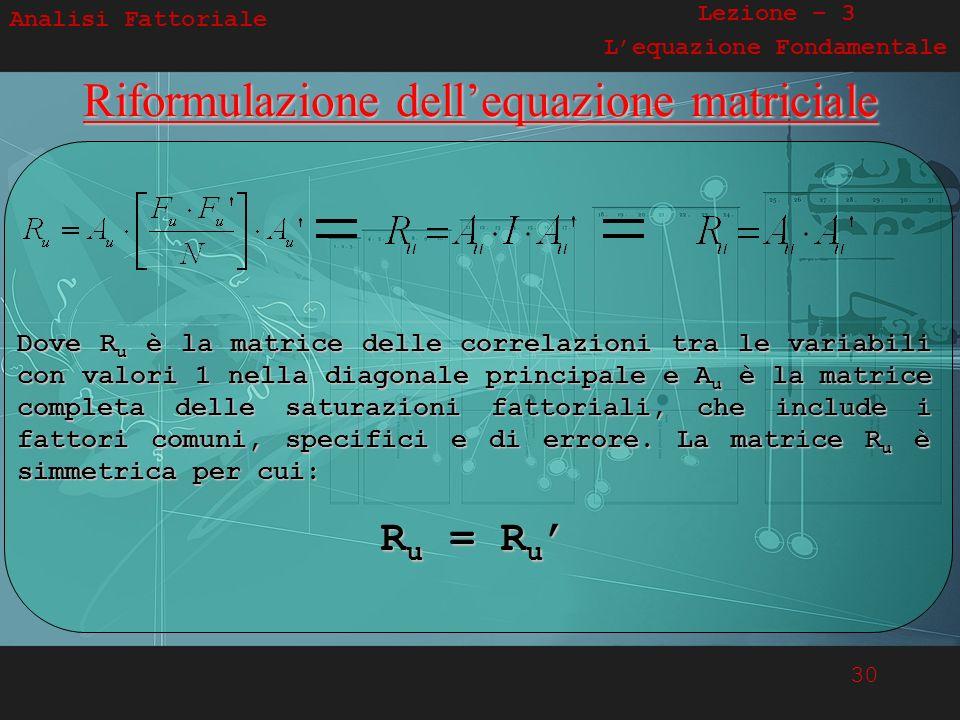 30 Analisi Fattoriale Lezione – 3 Lequazione FondamentaleRiformulazione dellequazione matriciale Dove R u è la matrice delle correlazioni tra le varia