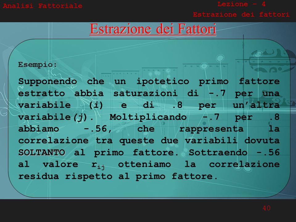 40 Analisi FattorialeEstrazione dei Fattori Esempio: SOLTANTO Supponendo che un ipotetico primo fattore estratto abbia saturazioni di -.7 per una vari