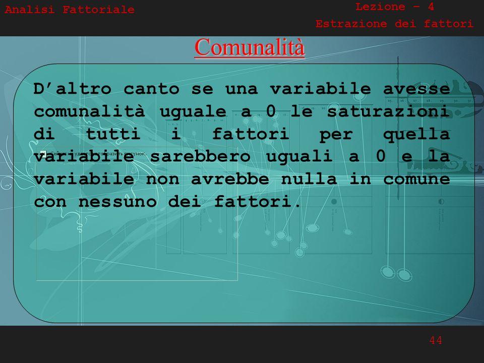 44 Analisi FattorialeComunalità Daltro canto se una variabile avesse comunalità uguale a 0 le saturazioni di tutti i fattori per quella variabile sare