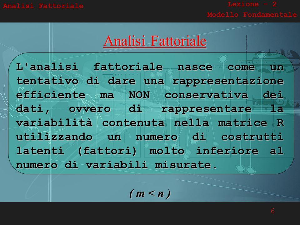 6 Analisi FattorialeAnalisi Fattoriale L'analisi fattoriale nasce come un tentativo di dare una rappresentazione efficiente ma NON conservativa dei da