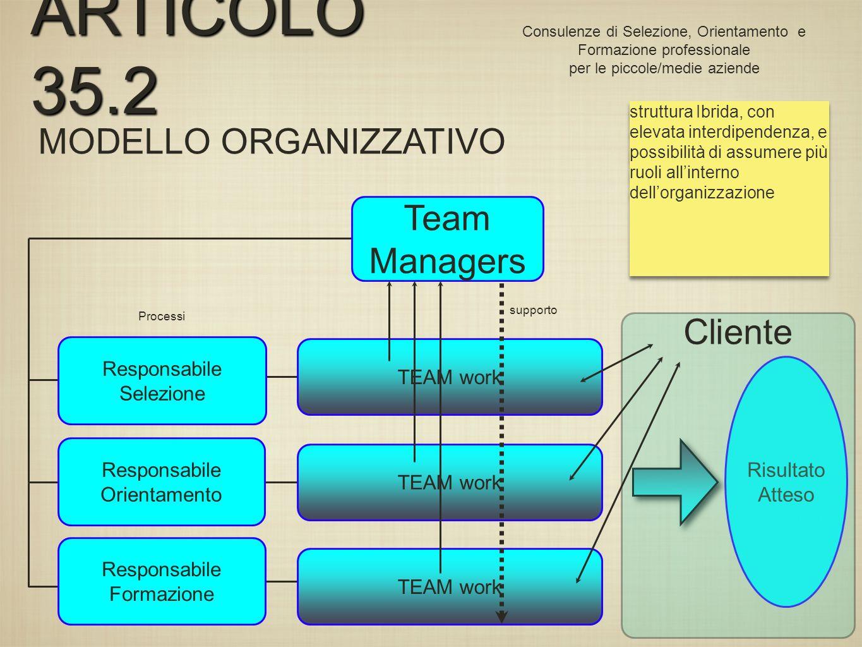 MODELLO ORGANIZZATIVO Team Managers Responsabile Selezione Responsabile Orientamento Responsabile Formazione TEAM work Risultato Atteso Processi TEAM work ARTICOLO 35.2 Consulenze di Selezione, Orientamento e Formazione professionale per le piccole/medie aziende supporto Cliente struttura Ibrida, con elevata interdipendenza, e possibilità di assumere più ruoli allinterno dellorganizzazione