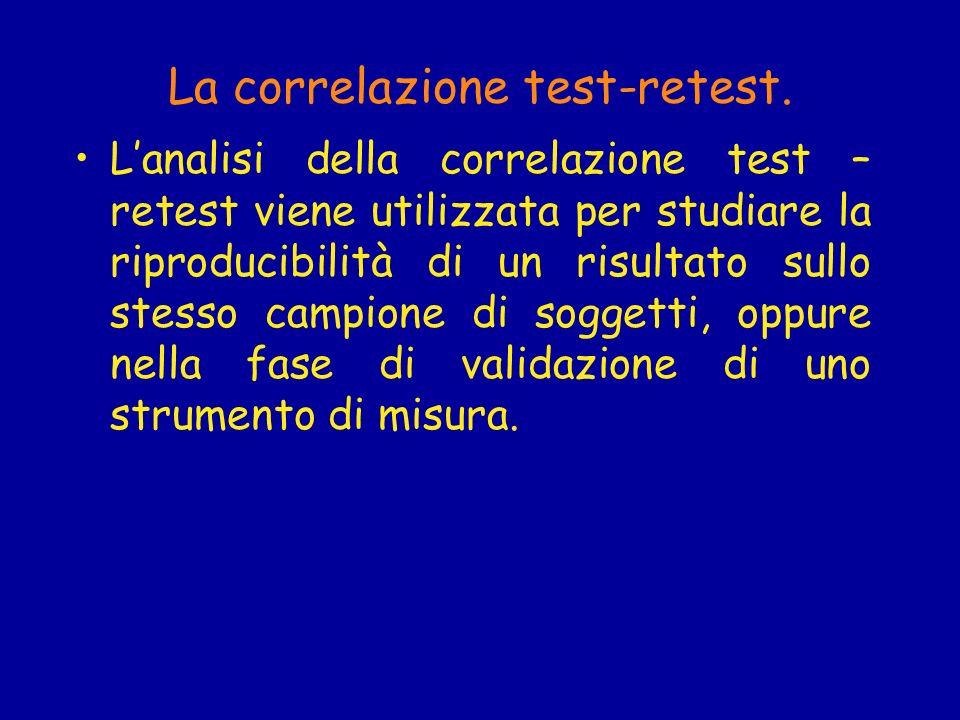 Lanalisi della correlazione test – retest viene utilizzata per studiare la riproducibilità di un risultato sullo stesso campione di soggetti, oppure nella fase di validazione di uno strumento di misura.