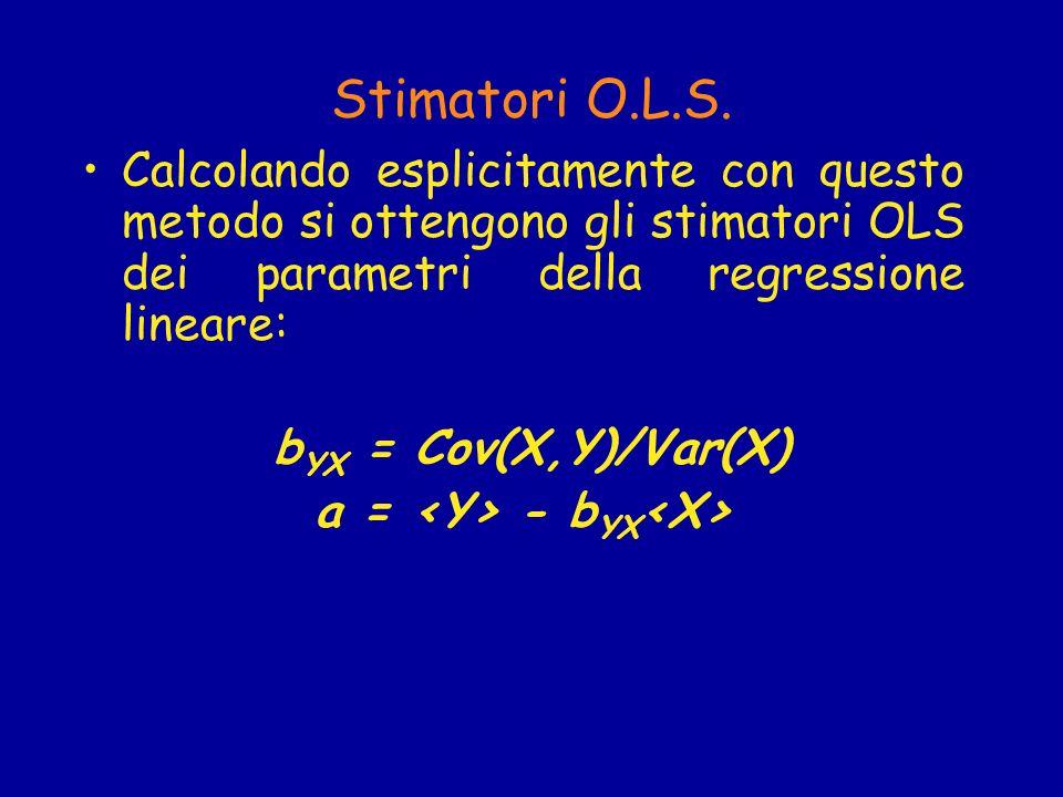 La Covarianza la covarianza tra due variabili è il valore atteso del prodotto dei rispettivi scarti dalla media: Cov(X,Y) = )(Y - )> Quando tra X ed Y non vi é alcuna relazione, Cov(X,Y)=0 e la retta di regressione, Y=a, é parallela allasse delle ascisse.