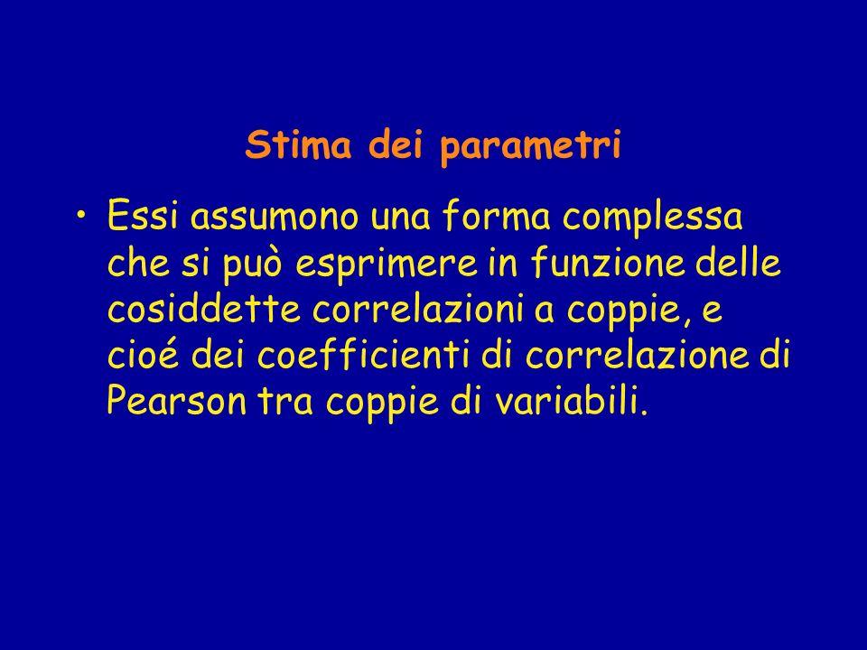 Stima dei parametri Essi assumono una forma complessa che si può esprimere in funzione delle cosiddette correlazioni a coppie, e cioé dei coefficienti di correlazione di Pearson tra coppie di variabili.