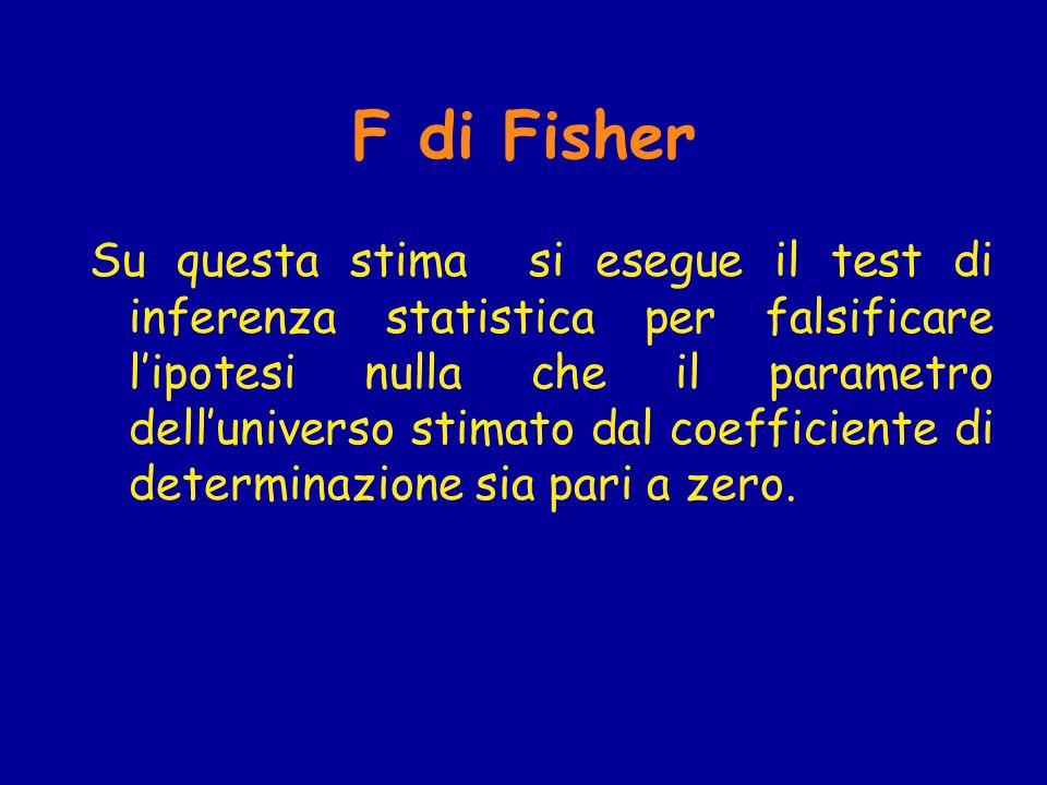 F di Fisher Su questa stima si esegue il test di inferenza statistica per falsificare lipotesi nulla che il parametro delluniverso stimato dal coefficiente di determinazione sia pari a zero.