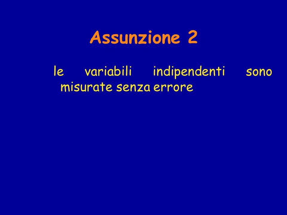 Assunzione 2 le variabili indipendenti sono misurate senza errore