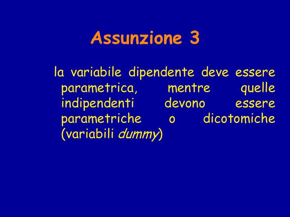 Assunzione 3 la variabile dipendente deve essere parametrica, mentre quelle indipendenti devono essere parametriche o dicotomiche (variabili dummy)
