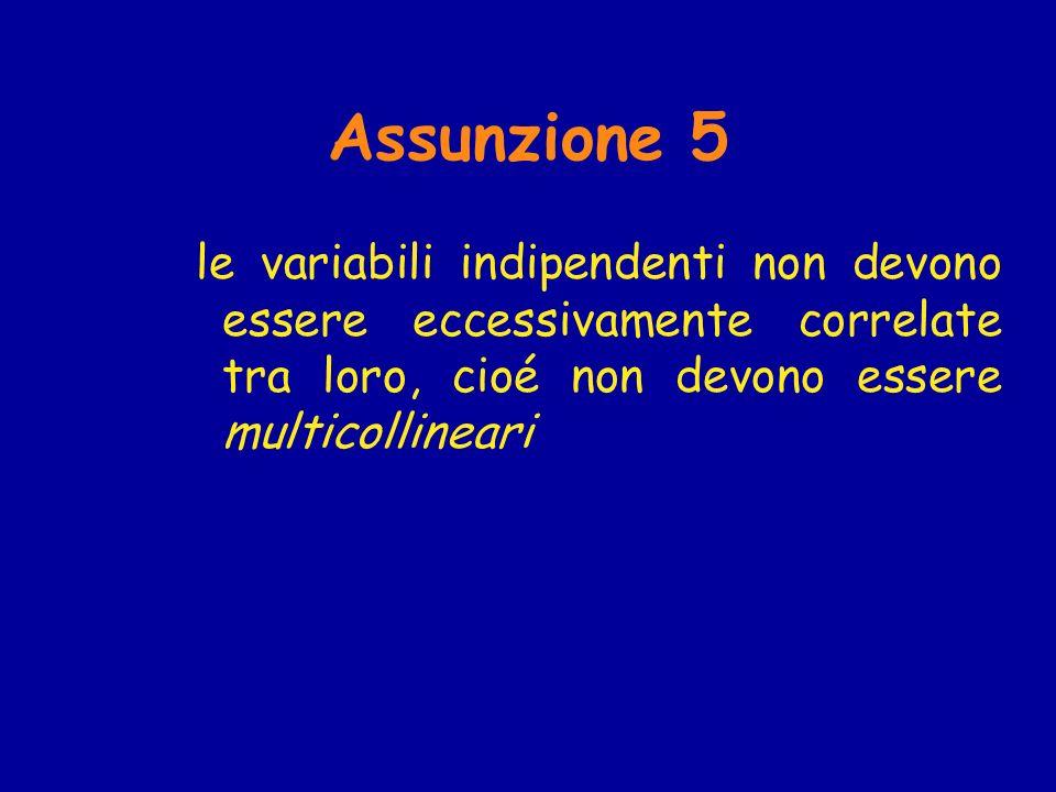 Assunzione 5 le variabili indipendenti non devono essere eccessivamente correlate tra loro, cioé non devono essere multicollineari