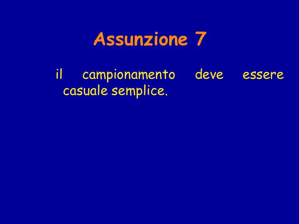Assunzione 7 il campionamento deve essere casuale semplice.