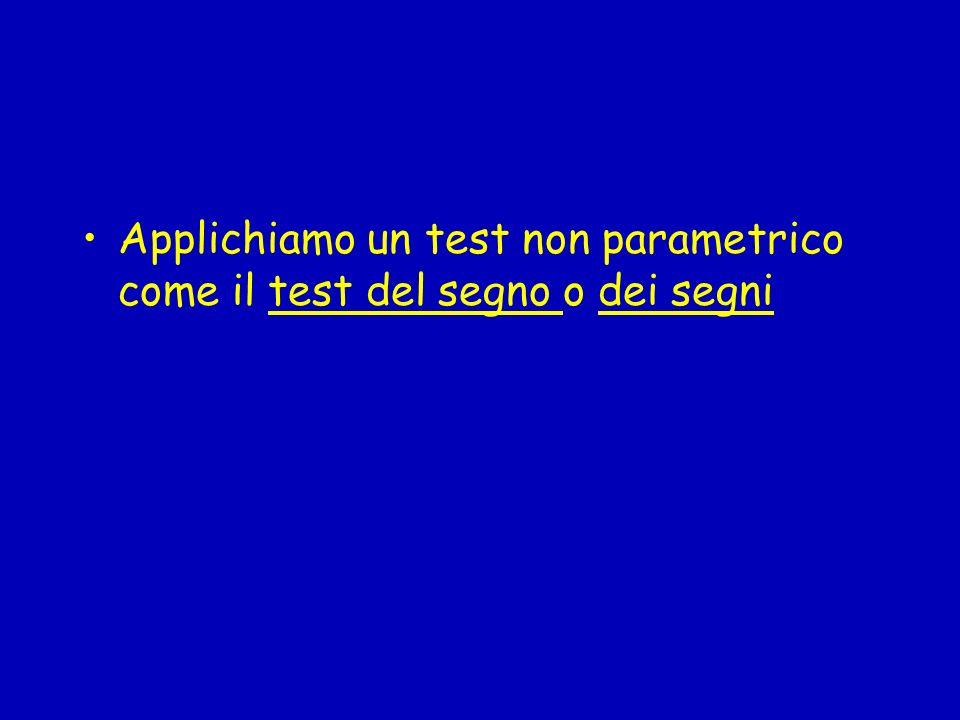 Applichiamo un test non parametrico come il test del segno o dei segni
