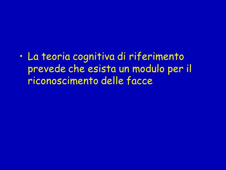 La teoria cognitiva di riferimento prevede che esista un modulo per il riconoscimento delle facce