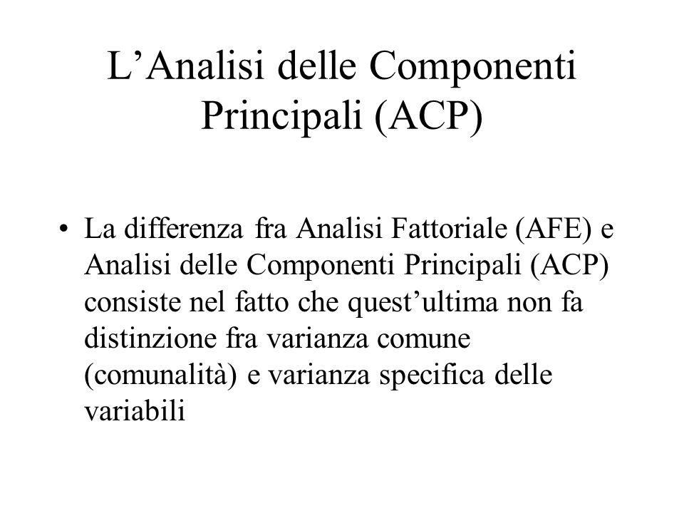LAnalisi delle Componenti Principali (ACP) La differenza fra Analisi Fattoriale (AFE) e Analisi delle Componenti Principali (ACP) consiste nel fatto c