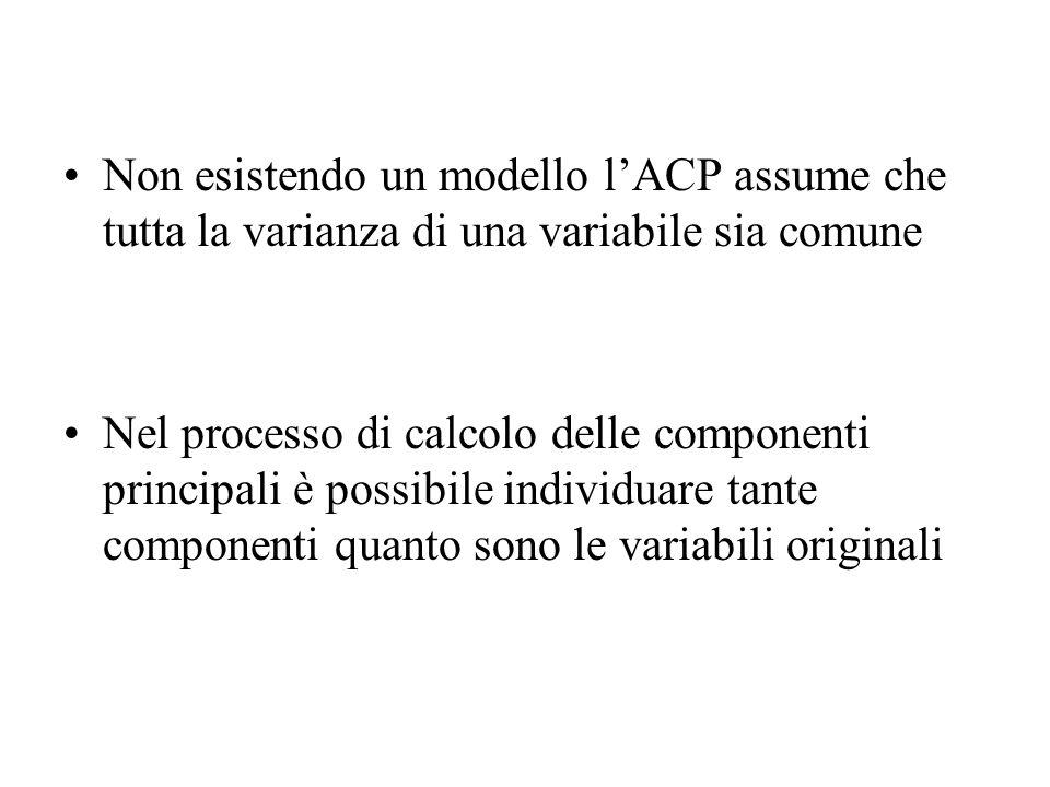 Non esistendo un modello lACP assume che tutta la varianza di una variabile sia comune Nel processo di calcolo delle componenti principali è possibile
