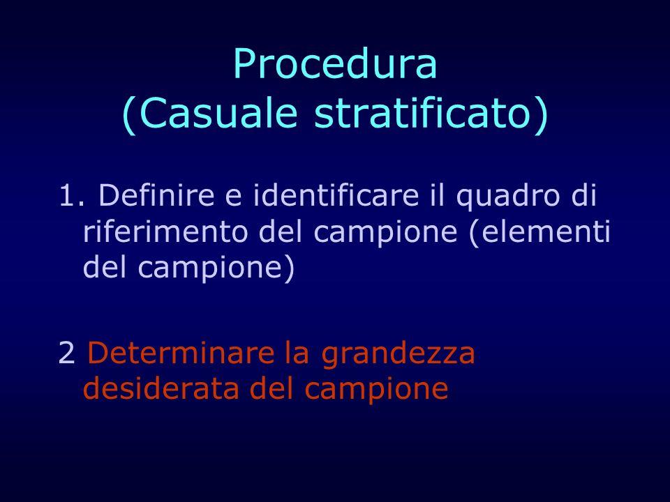 Procedura (Casuale stratificato) 1. Definire e identificare il quadro di riferimento del campione (elementi del campione) 2 Determinare la grandezza d