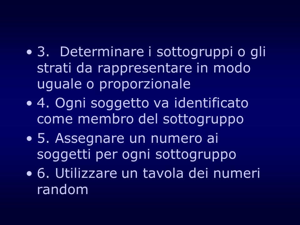 3. Determinare i sottogruppi o gli strati da rappresentare in modo uguale o proporzionale 4. Ogni soggetto va identificato come membro del sottogruppo