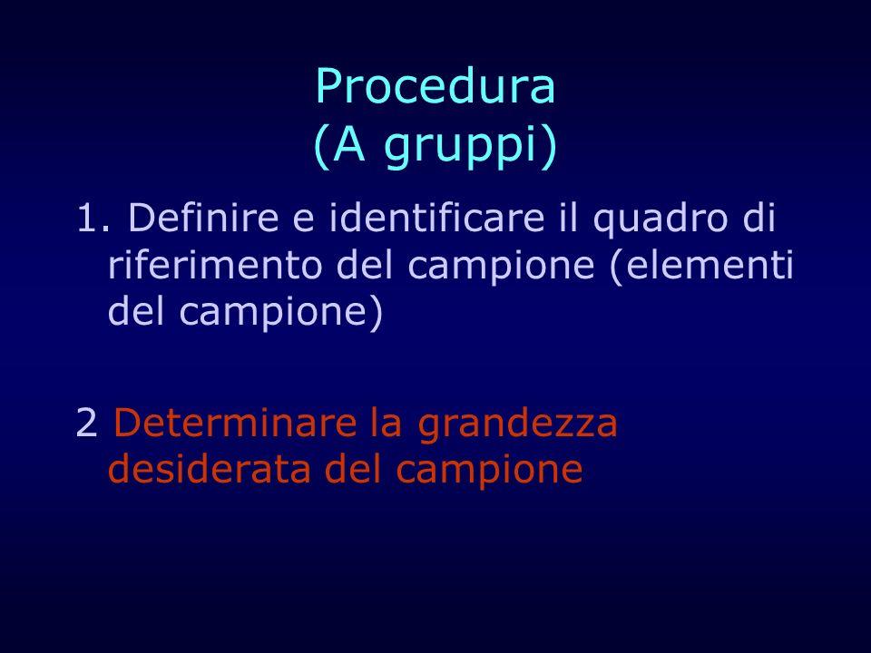 Procedura (A gruppi) 1. Definire e identificare il quadro di riferimento del campione (elementi del campione) 2 Determinare la grandezza desiderata de