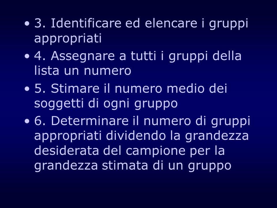 3. Identificare ed elencare i gruppi appropriati 4. Assegnare a tutti i gruppi della lista un numero 5. Stimare il numero medio dei soggetti di ogni g
