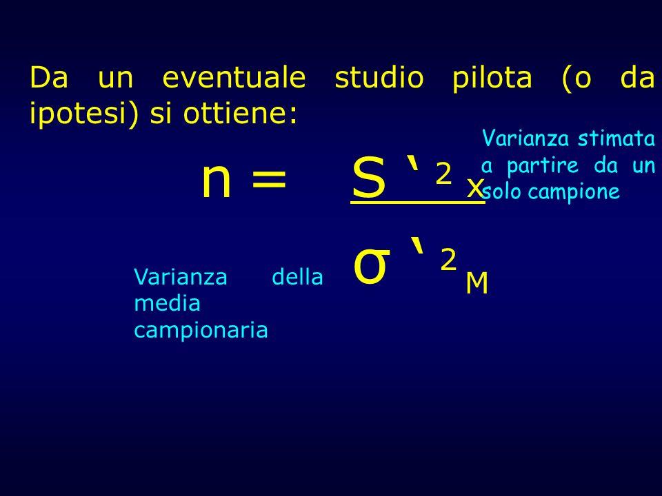 Da un eventuale studio pilota (o da ipotesi) si ottiene: n = S 2 x σ 2 M Varianza stimata a partire da un solo campione Varianza della media campionar