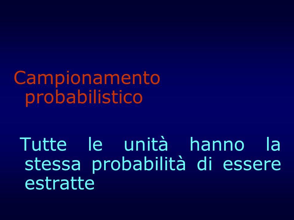 Campionamento probabilistico Tutte le unità hanno la stessa probabilità di essere estratte