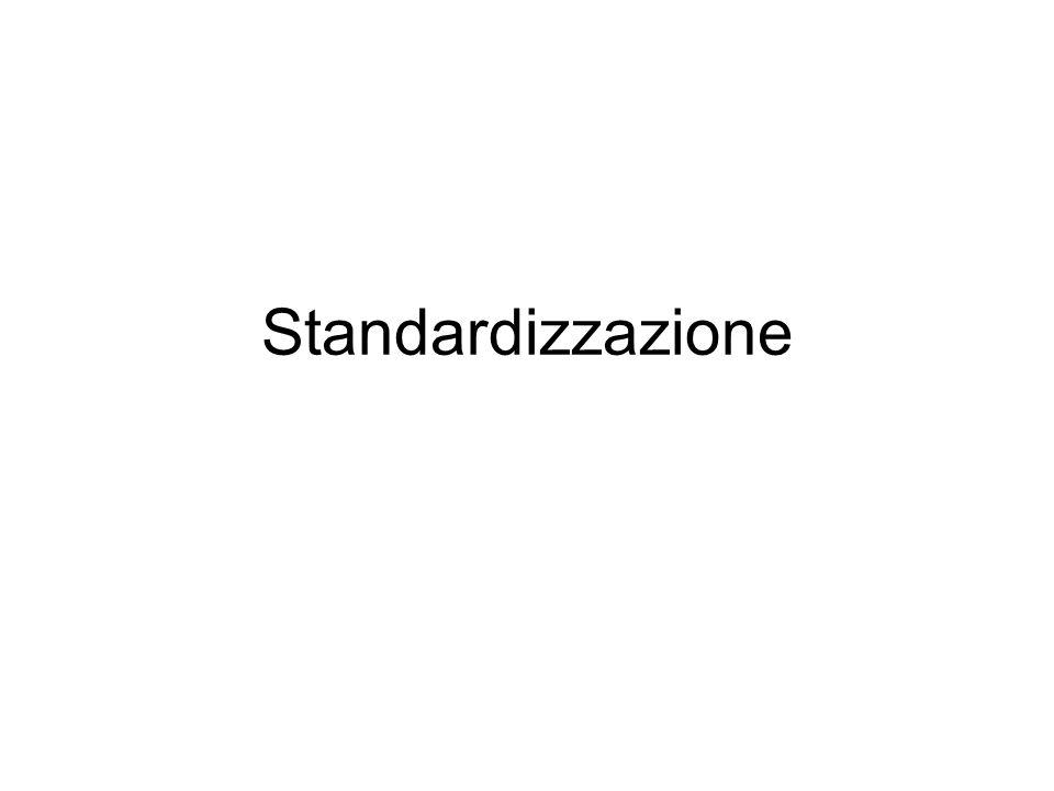 Situazione standardizzata: tutto resta costante Misura standardizzata: il singolo dato empirico è ricondotto a un sistema di riferimento più generale Per dare un significato chiaro ai punteggi bisogna ancorarli a un valore medio o Min/Max che abbiano senso
