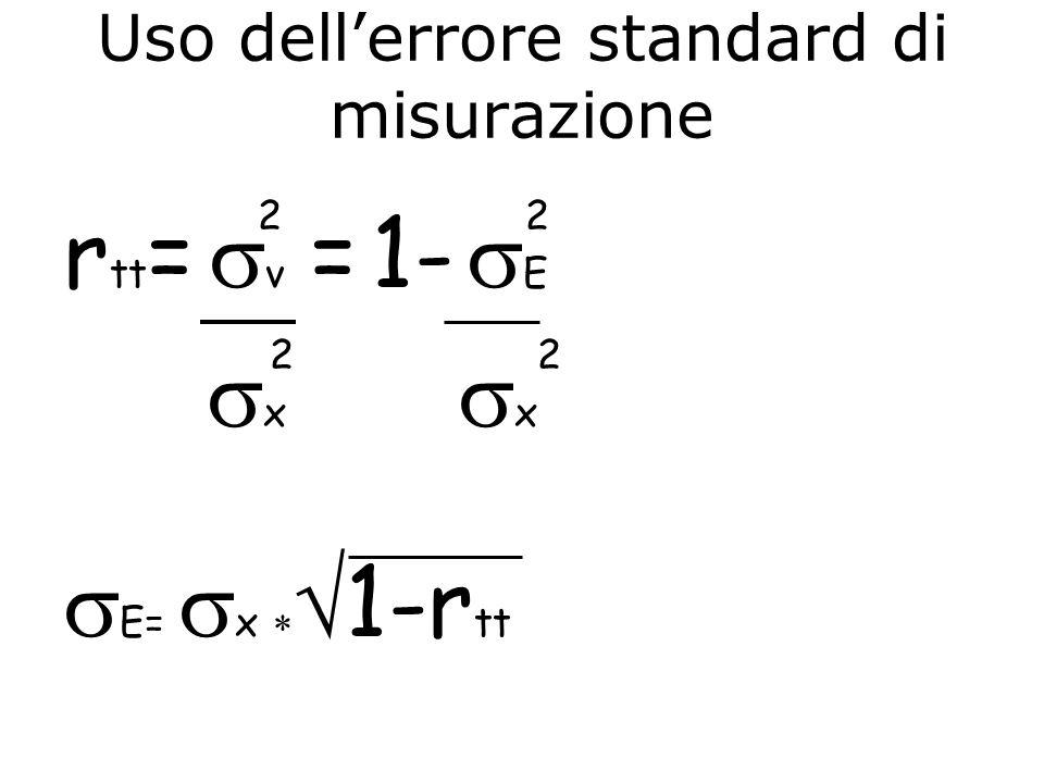 Uso dellerrore standard di misurazione 2 2 r tt = v = 1- E 2 2 x x E= x 1-r tt