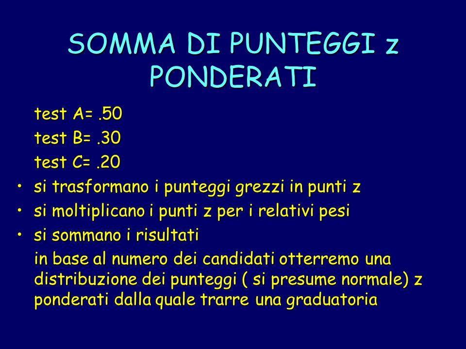 SOMMA DI PUNTEGGI z PONDERATI test A=.50 test B=.30 test C=.20 si trasformano i punteggi grezzi in punti zsi trasformano i punteggi grezzi in punti z