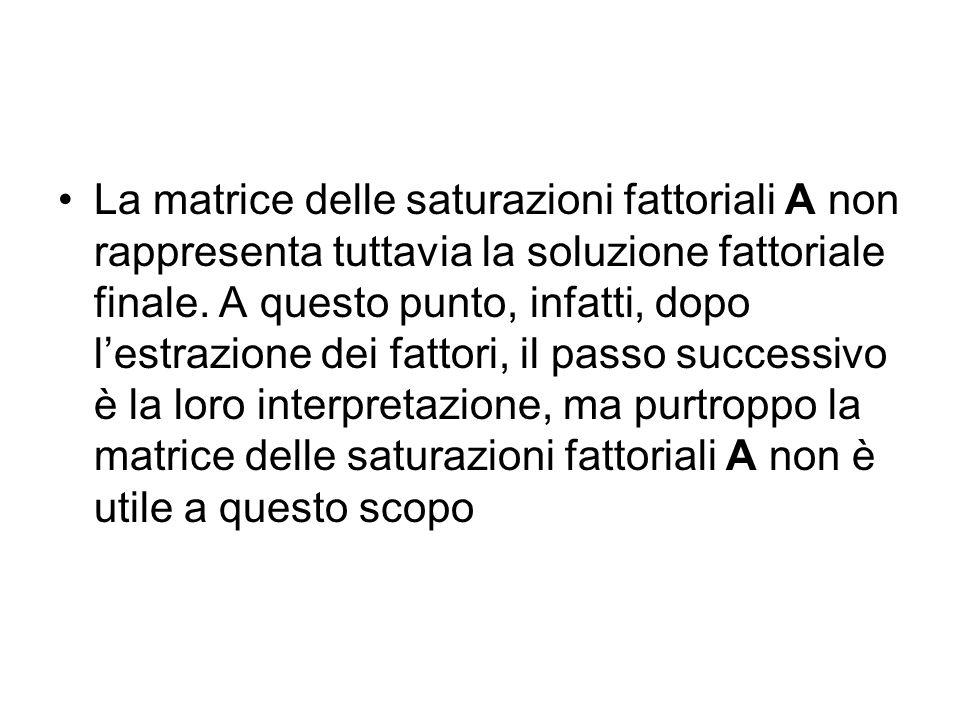 La matrice delle saturazioni fattoriali A non rappresenta tuttavia la soluzione fattoriale finale. A questo punto, infatti, dopo lestrazione dei fatto