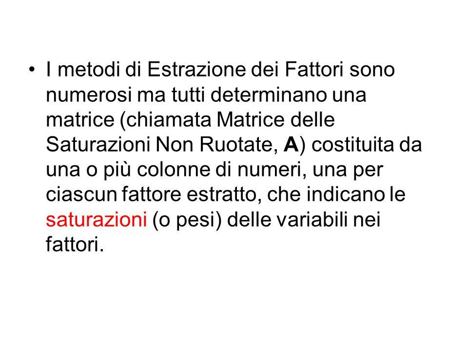 I metodi di Estrazione dei Fattori sono numerosi ma tutti determinano una matrice (chiamata Matrice delle Saturazioni Non Ruotate, A) costituita da un