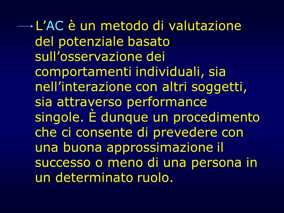LAC è un metodo di valutazione del potenziale basato sullosservazione dei comportamenti individuali, sia nellinterazione con altri soggetti, sia attra
