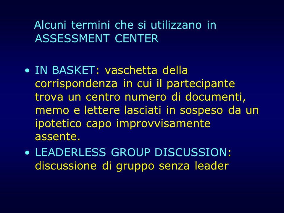 Alcuni termini che si utilizzano in ASSESSMENT CENTER IN BASKET: vaschetta della corrispondenza in cui il partecipante trova un centro numero di docum