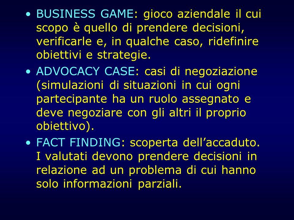 BUSINESS GAME: gioco aziendale il cui scopo è quello di prendere decisioni, verificarle e, in qualche caso, ridefinire obiettivi e strategie. ADVOCACY