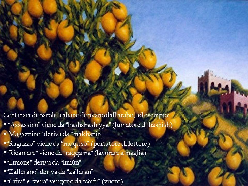 Centinaia di parole italiane derivano dallarabo, ad esempio: Assassino viene da hashshashiyya (fumatore di hashish) Magazzino deriva da makhazin Ragaz