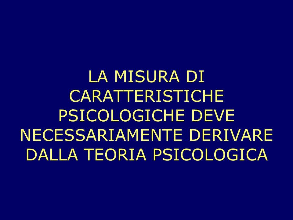 LA MISURA DI CARATTERISTICHE PSICOLOGICHE DEVE NECESSARIAMENTE DERIVARE DALLA TEORIA PSICOLOGICA
