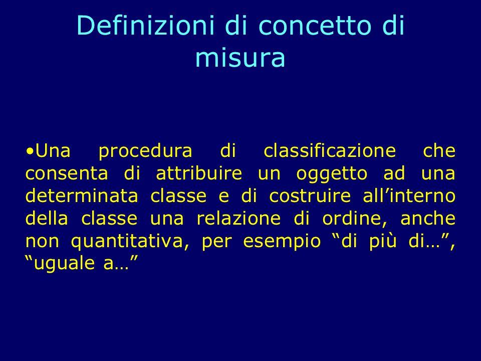 Una procedura di classificazione che consenta di attribuire un oggetto ad una determinata classe e di costruire allinterno della classe una relazione di ordine, anche non quantitativa, per esempio di più di…, uguale a… Definizioni di concetto di misura